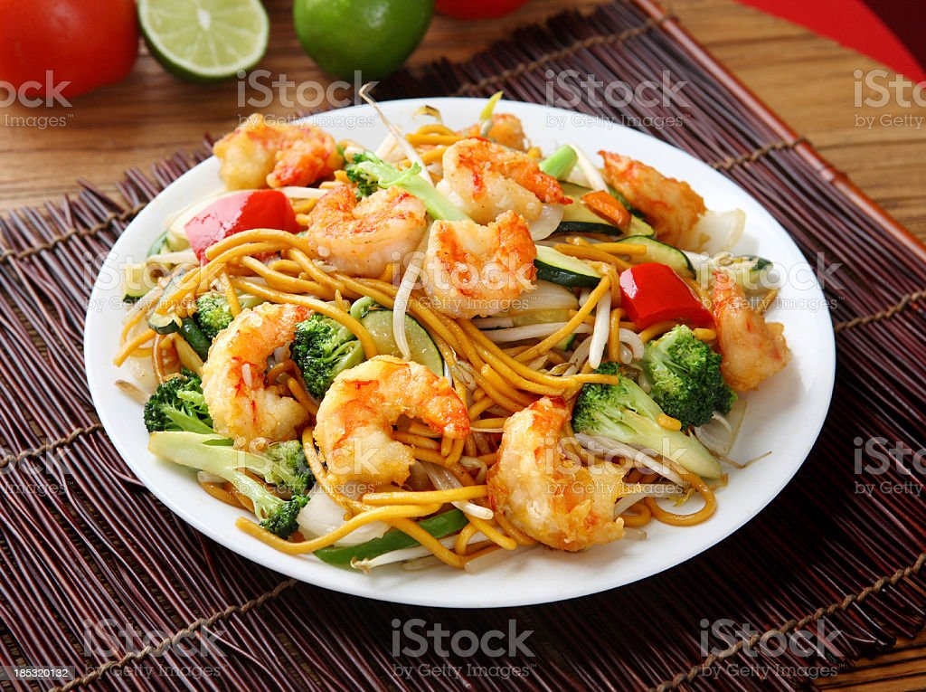 Shrimp Chow mein stock photo