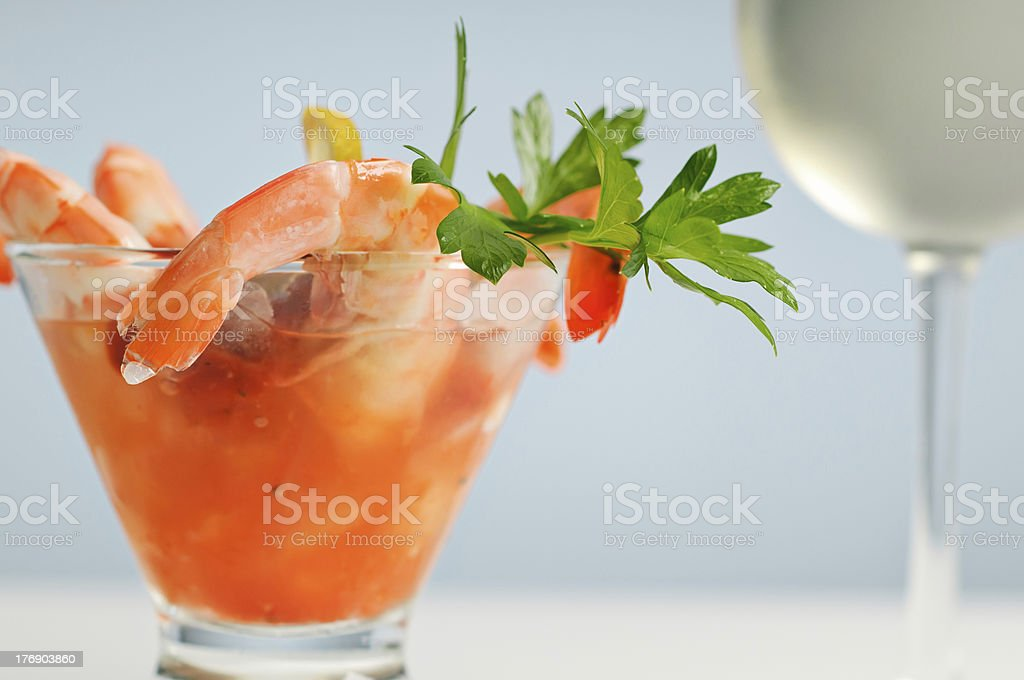 Shrimp Cocktail And White WIne stock photo