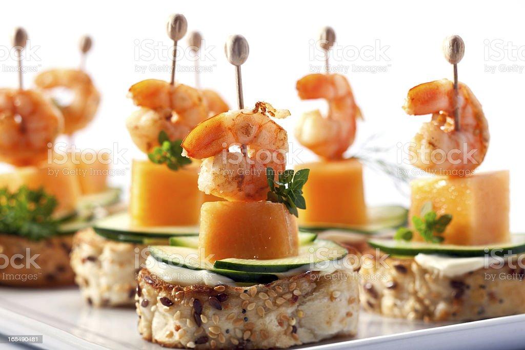 Shrimp cocktail appetizer stock photo