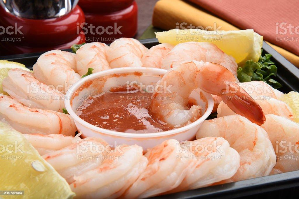 Shrimp cocktail closeup stock photo