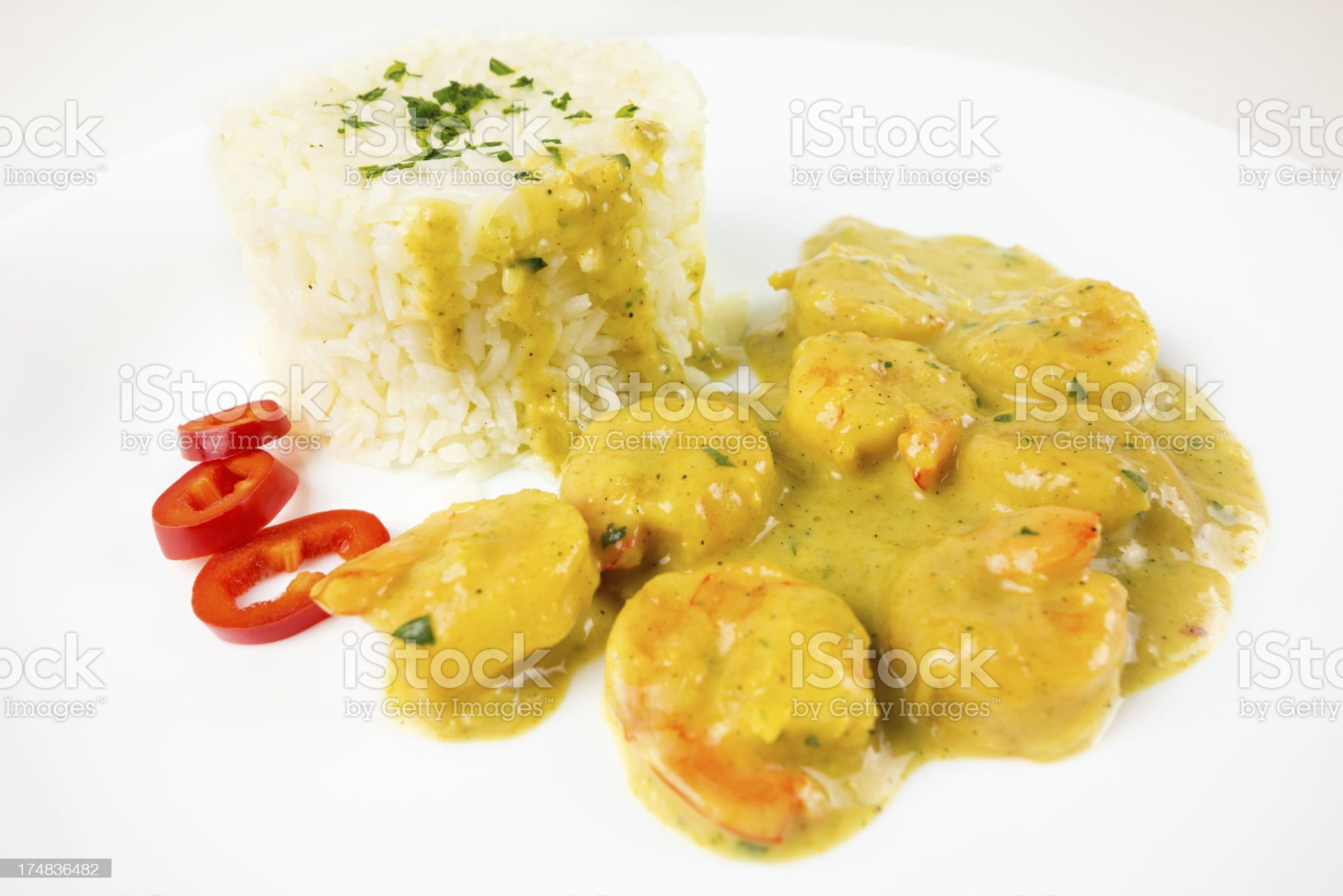 Shrimp Curry with Rice royalty-free stock photo