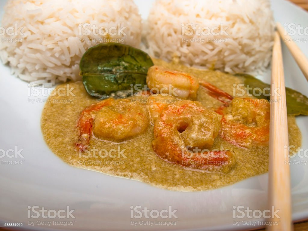 Shrimp curry with rice stock photo