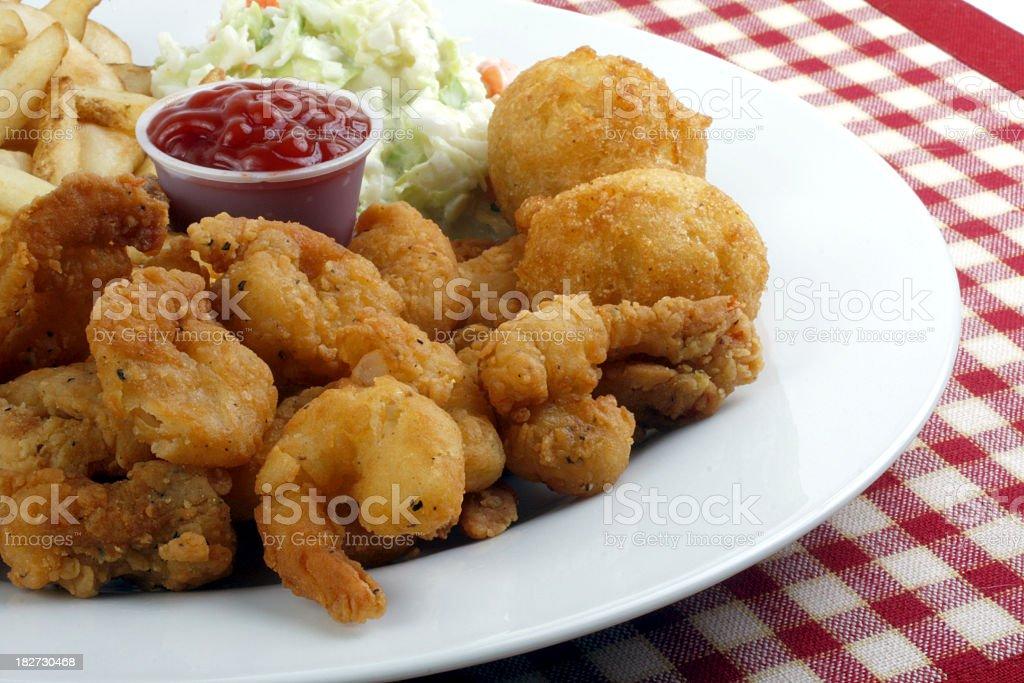shrimp dinner stock photo