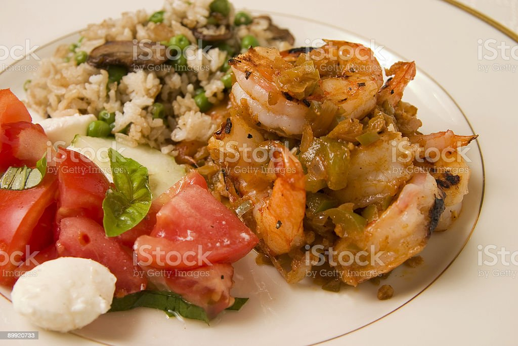 Shrimp dinner royalty-free stock photo