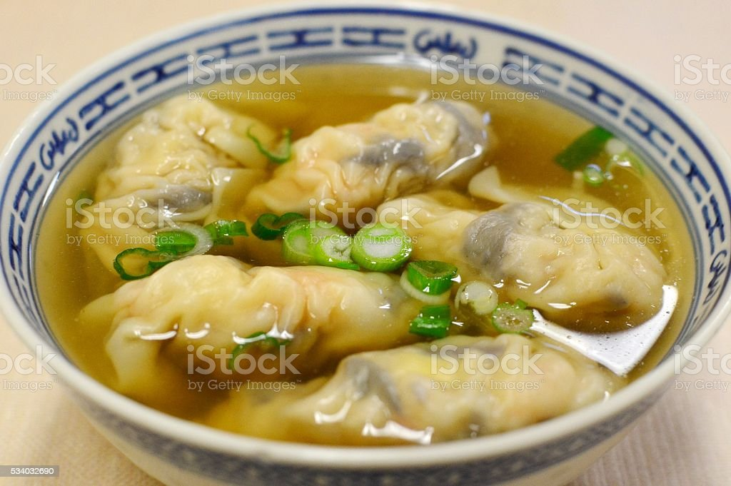 Shrimp dumplings in soup stock photo