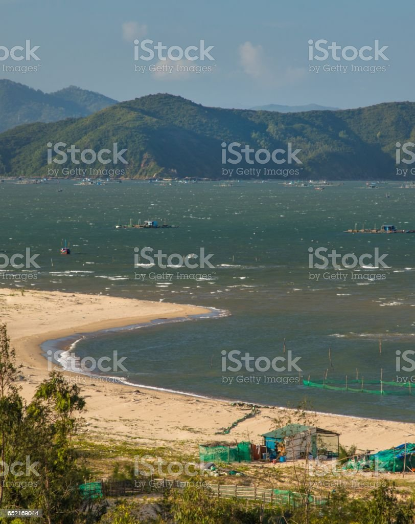 Shrimp Farming Vung Lam Bay Vietnam stock photo