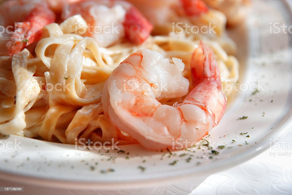 Shrimp Fettuccine close up stock photo