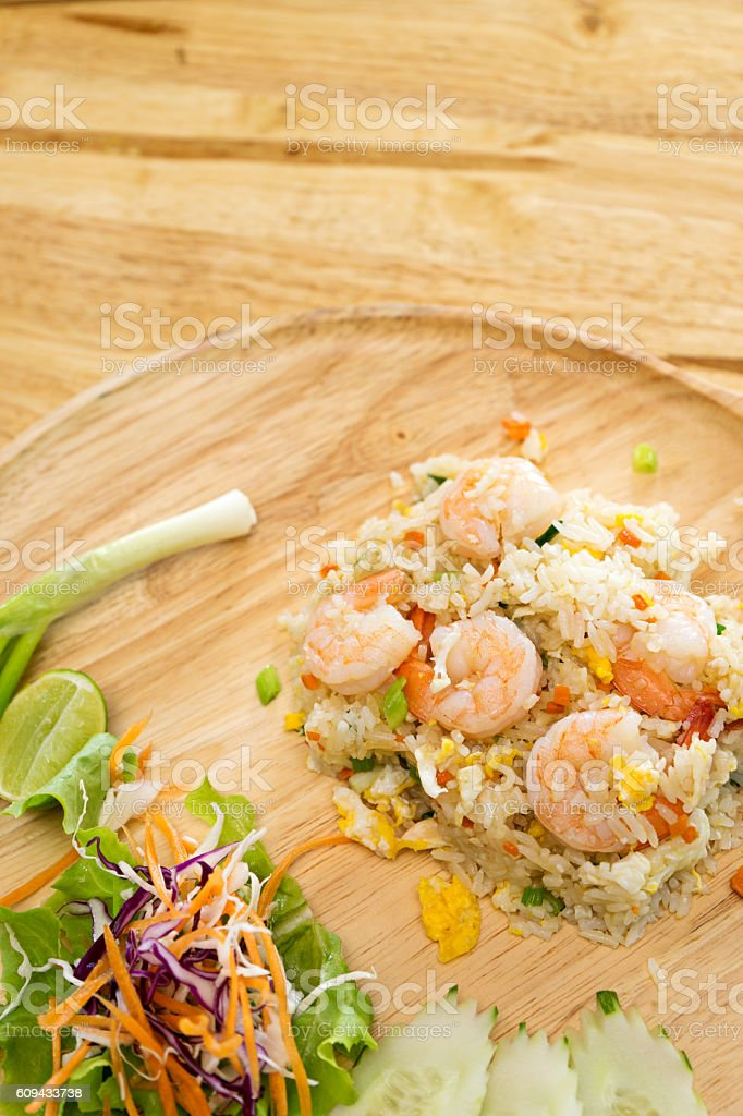 shrimp fired rice stock photo