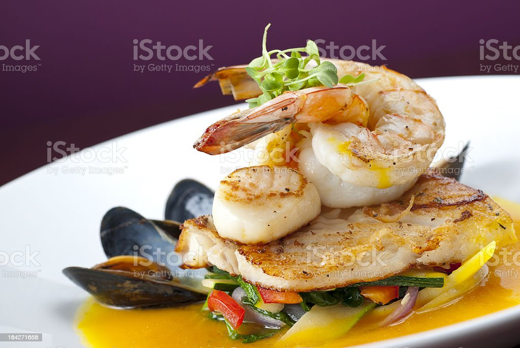 Shrimp Fish Scallops royalty-free stock photo