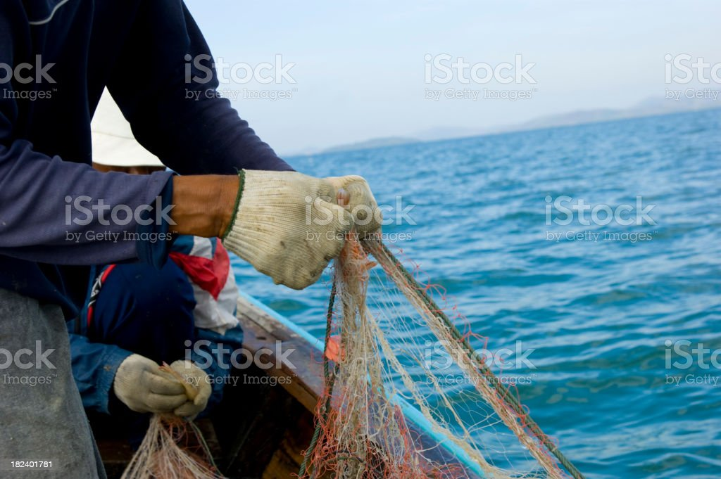 shrimp fishing stock photo