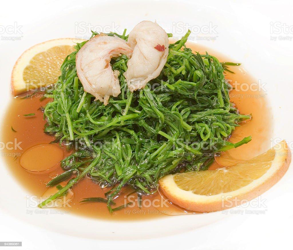 shrimp fit greens and lemon royalty-free stock photo