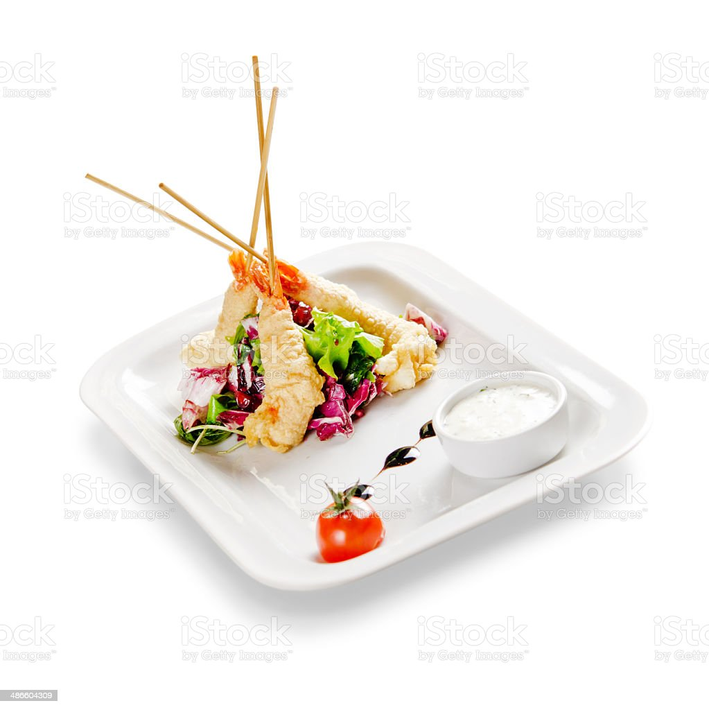 shrimp fried in batter. on a white background royalty-free stock photo