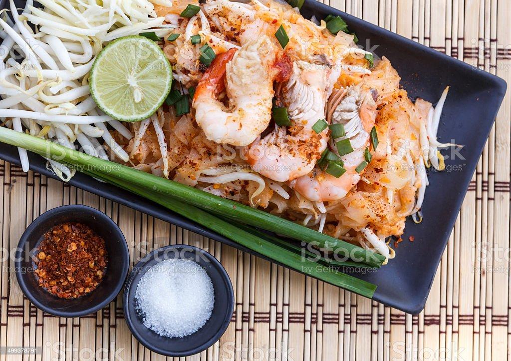 Shrimp fried rice noodles. stock photo