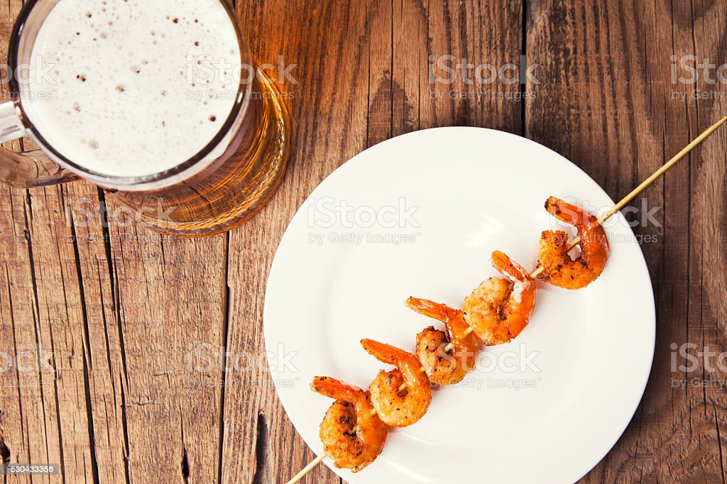 Shrimp grilled stock photo