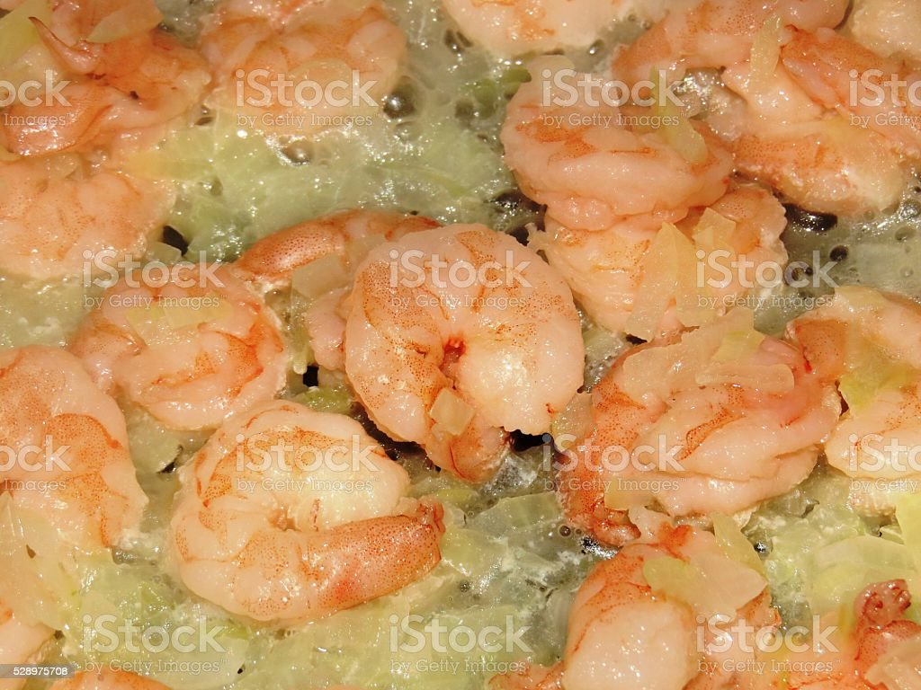 shrimp in a skillet royalty-free stock photo