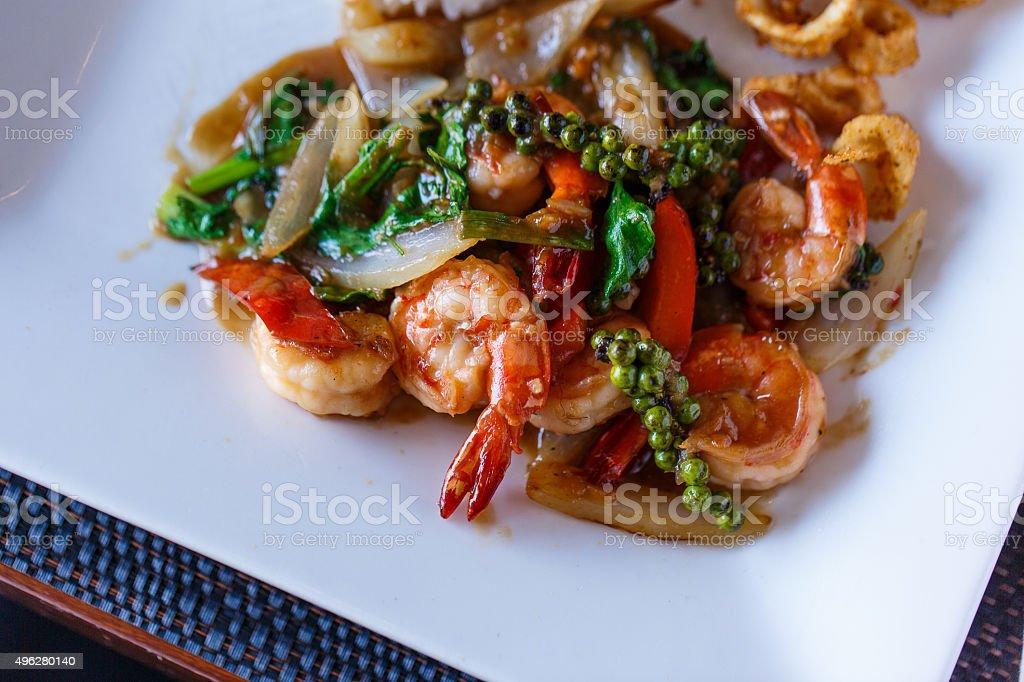 Shrimp in sauce stock photo