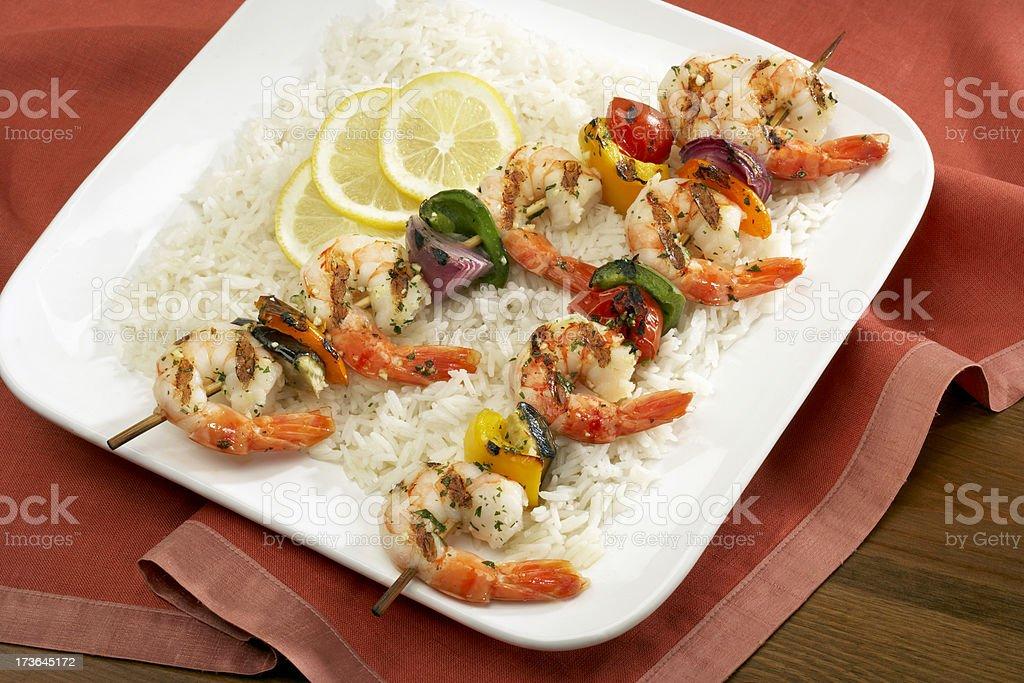 Shrimp kebab royalty-free stock photo