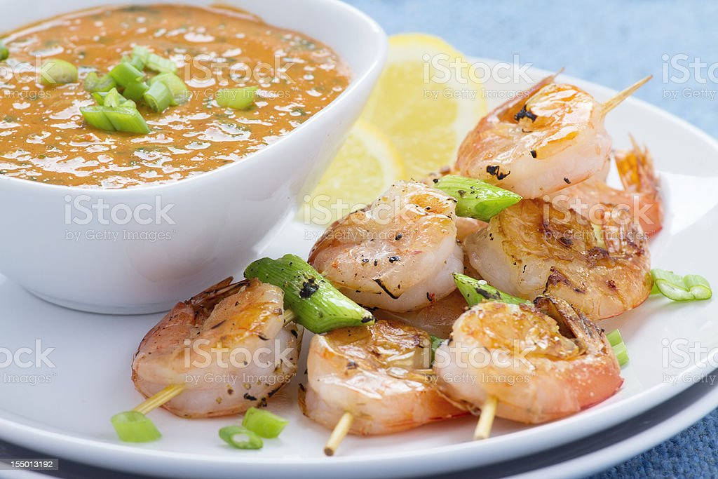 Shrimp Kebab with Dipping Sauce stock photo