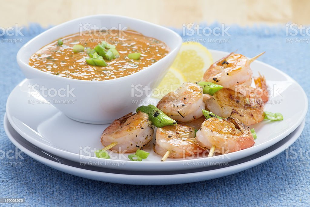 Shrimp Kebab with Dipping Sauce royalty-free stock photo