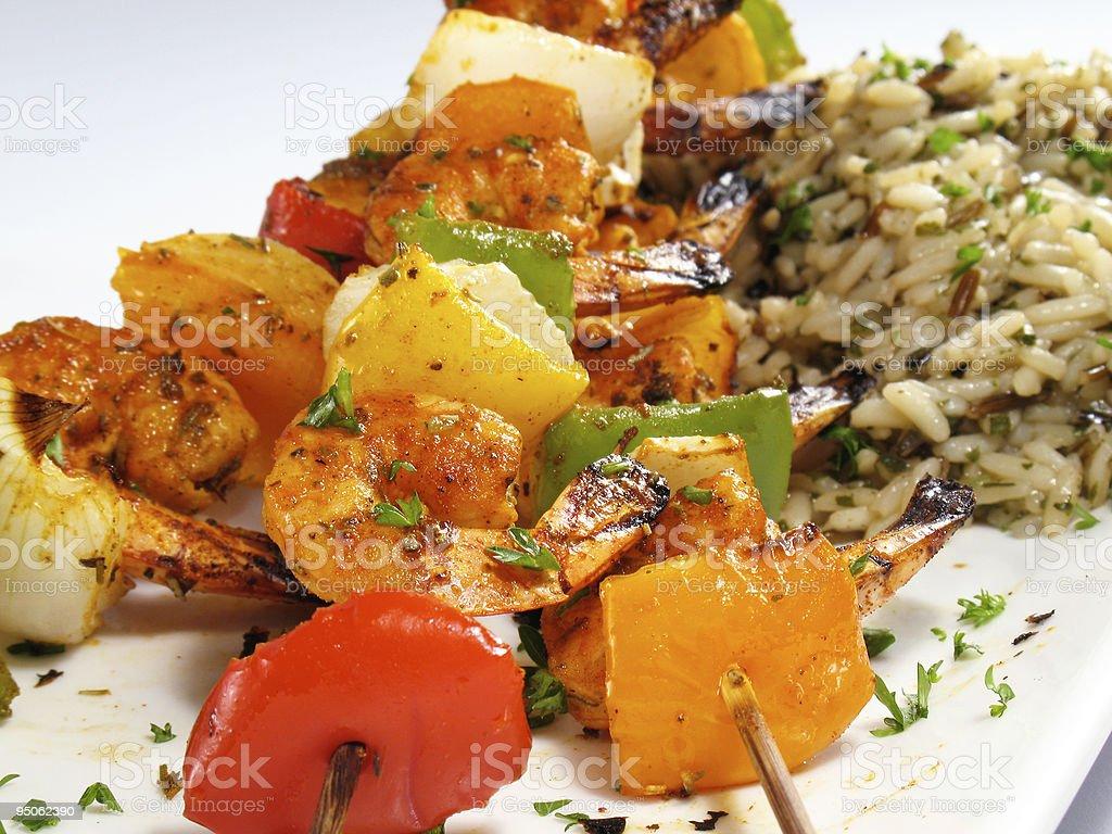 Shrimp Kebabs & Rice royalty-free stock photo
