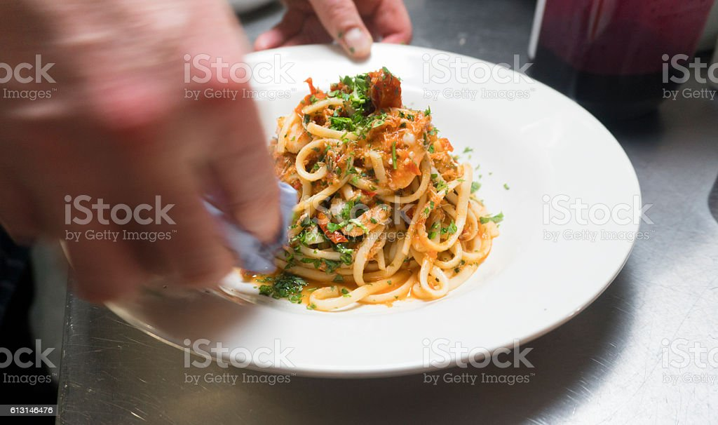 Shrimp Linguini Pasta stock photo