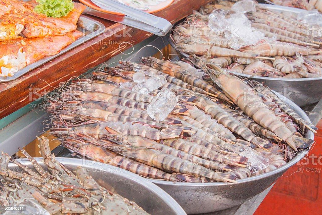 Shrimp market stock photo