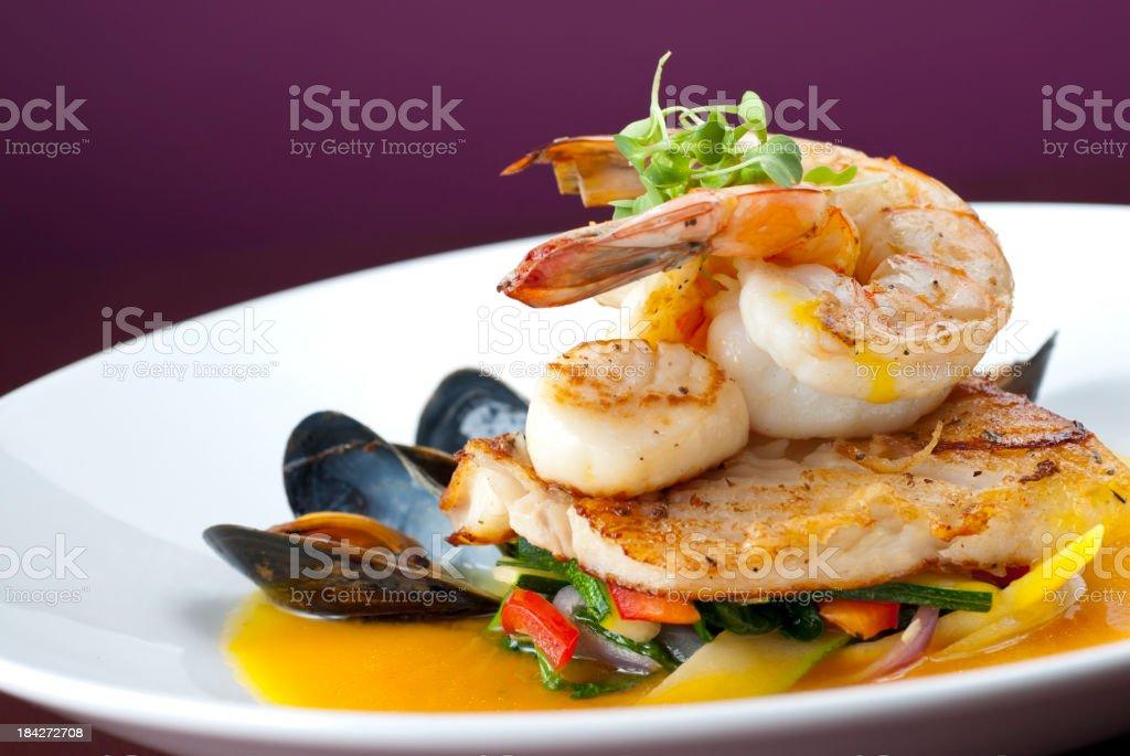 Shrimp Mussels Scallops stock photo