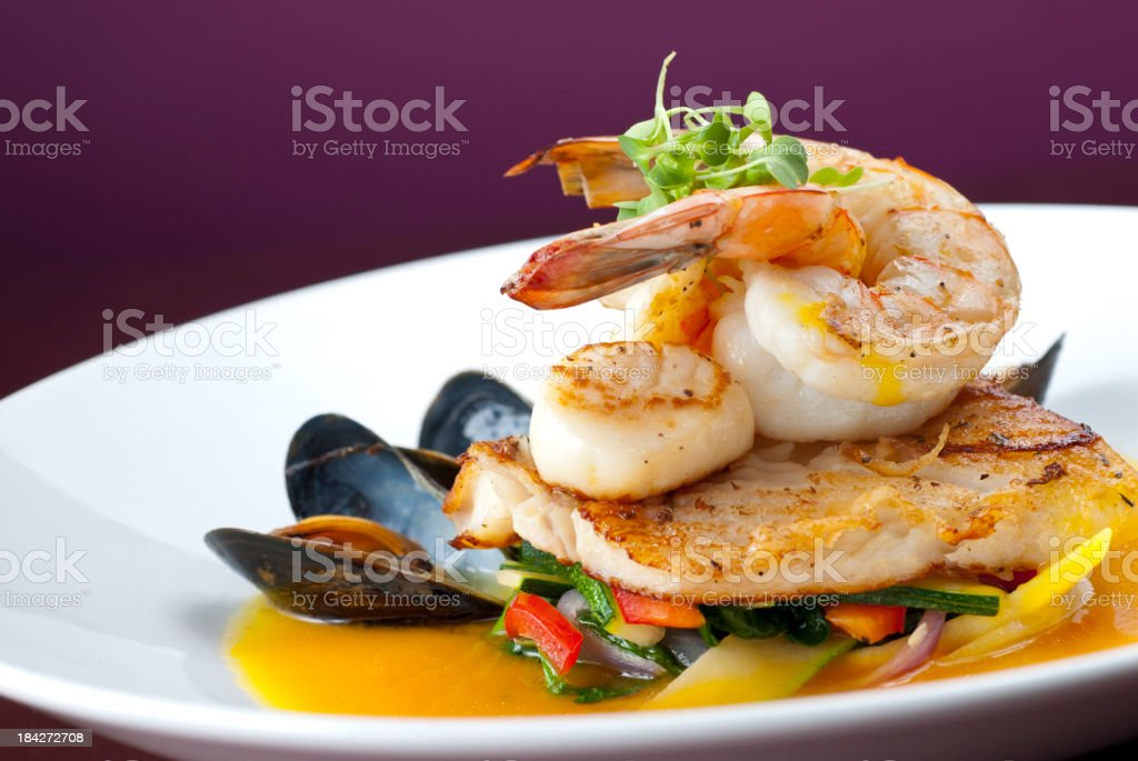 Shrimp Mussels Scallops stock photo