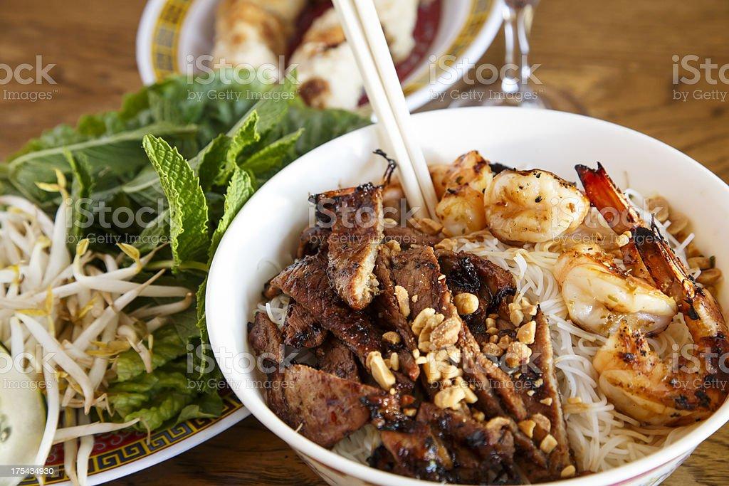 Shrimp Noodles and Pork royalty-free stock photo