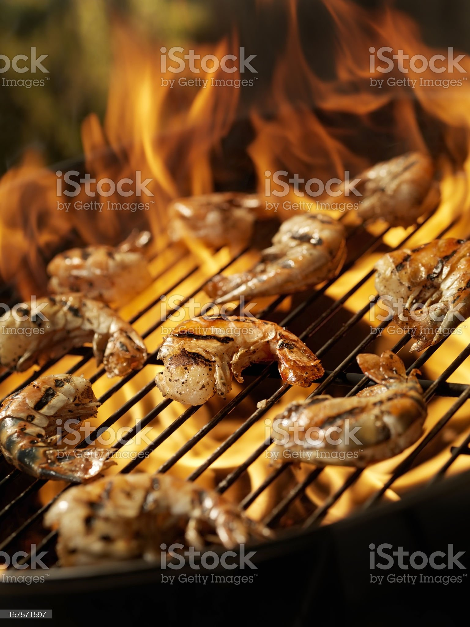 Shrimp on an outdoor BBQ royalty-free stock photo