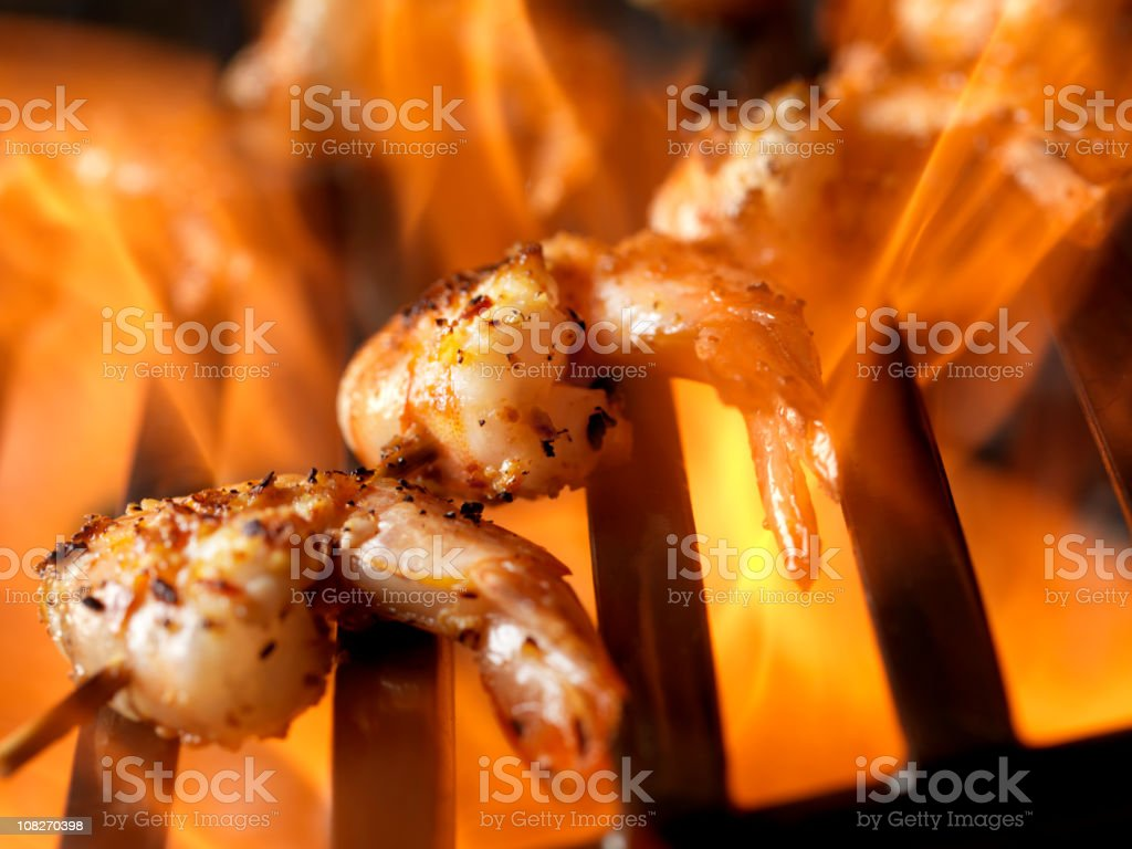 Shrimp on BBQ with Open Flame stock photo