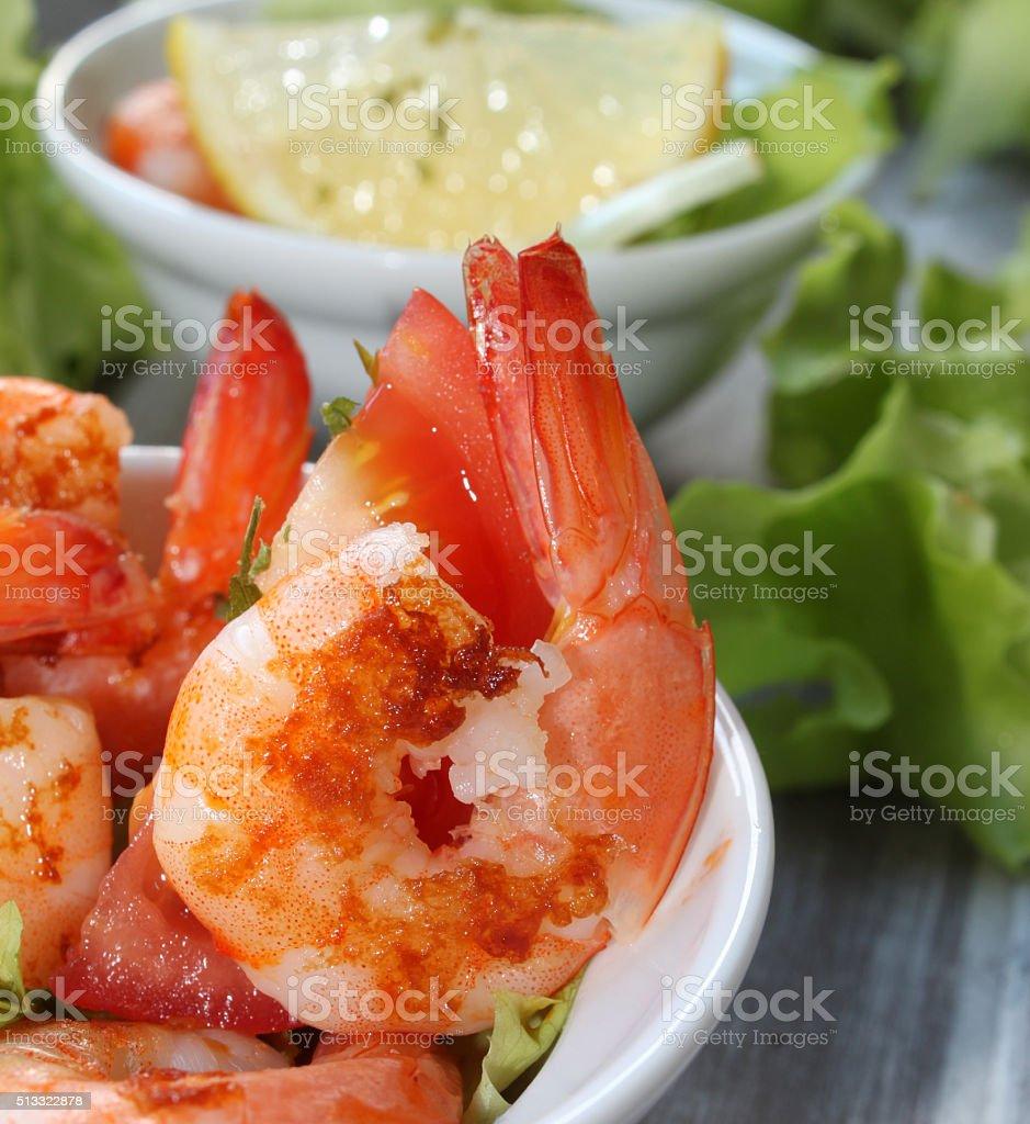 shrimp on lettuce stock photo