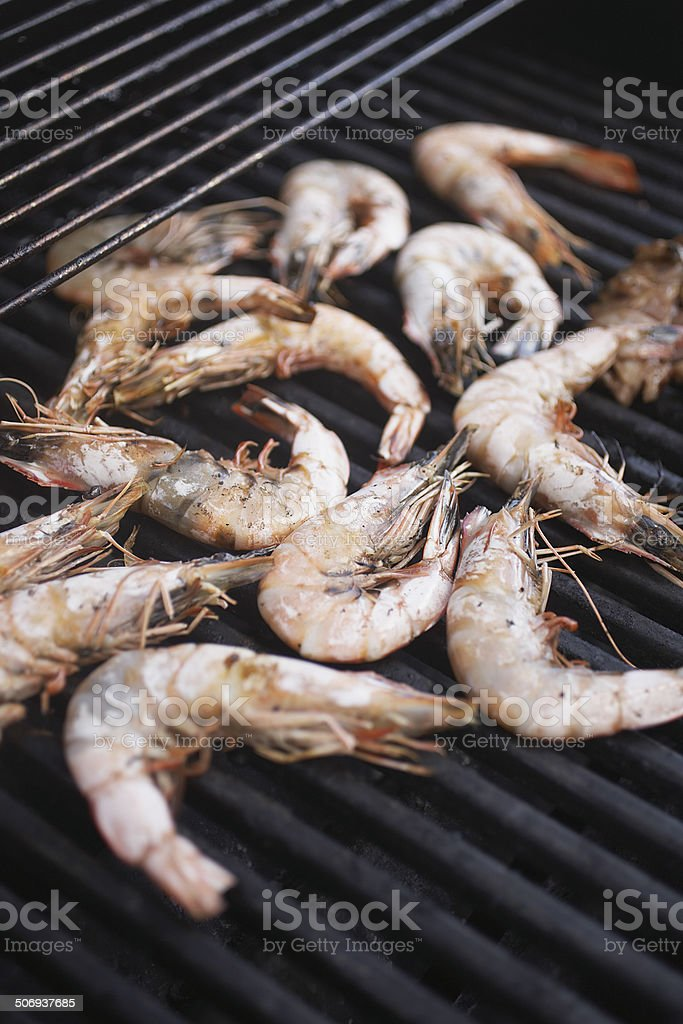 Shrimp on the Barbecue Grill stock photo