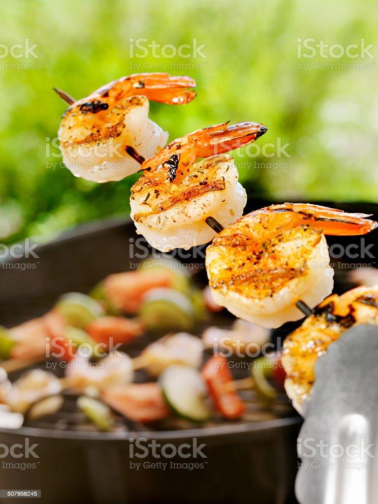 Shrimp on the barbie royalty-free stock photo
