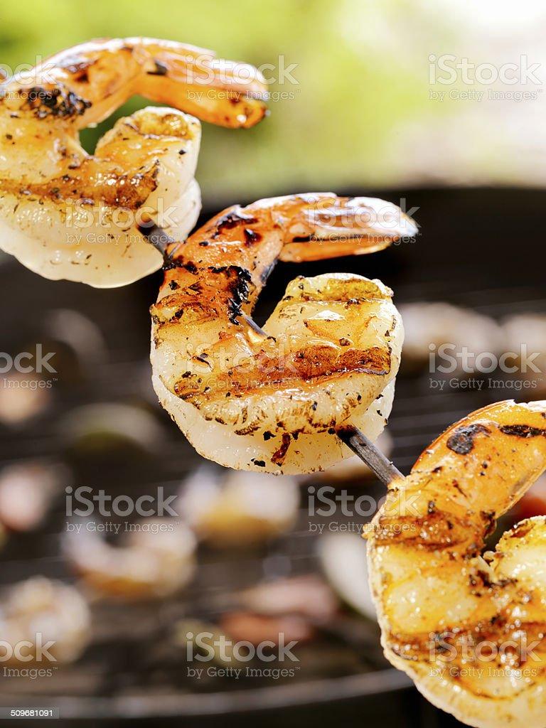 Shrimp on the barbie stock photo