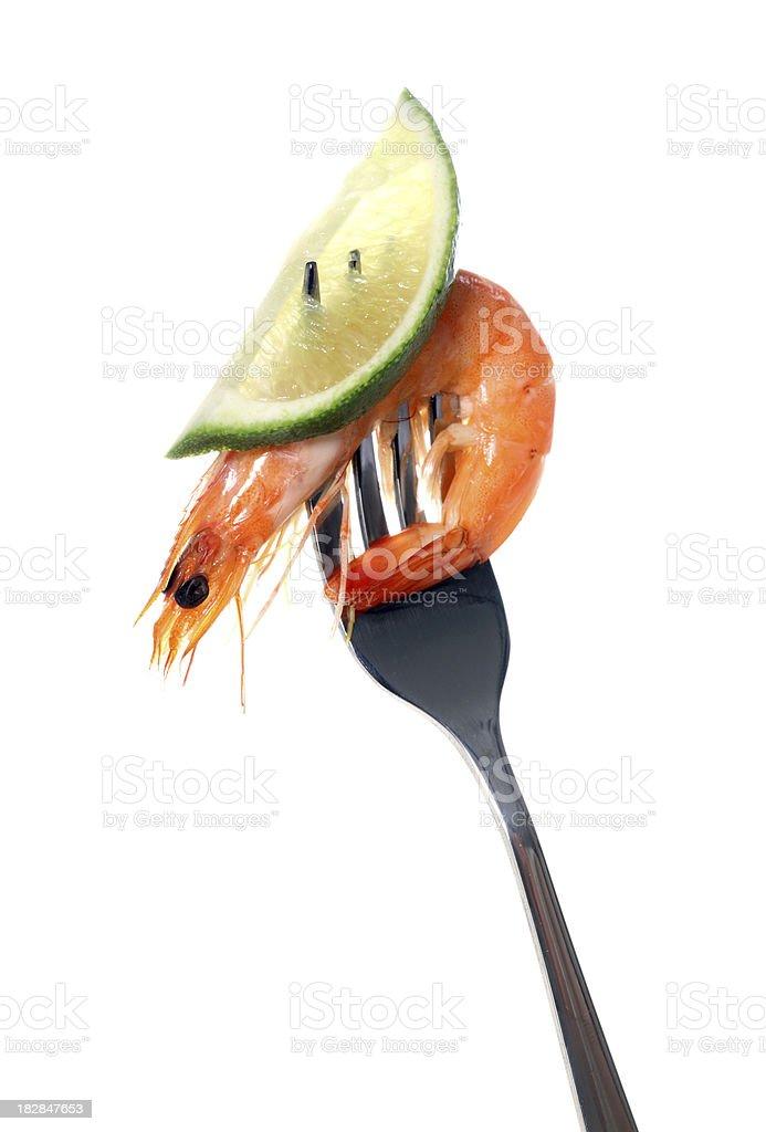 shrimp on the fork royalty-free stock photo