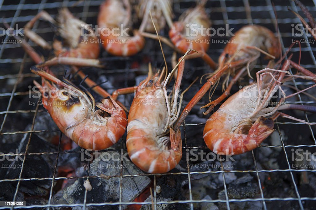 shrimp on the grill royalty-free stock photo