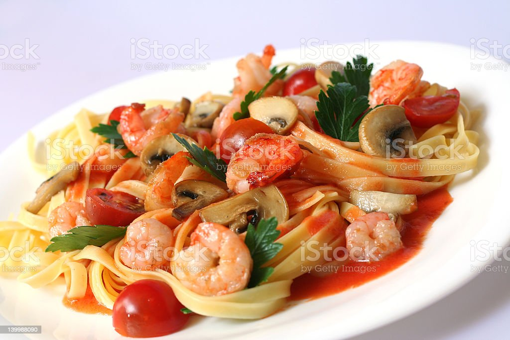 Shrimp Pasta Deluxe royalty-free stock photo