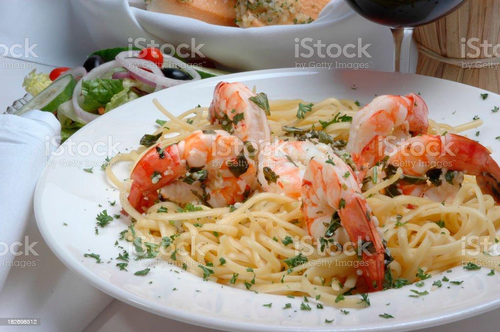 shrimp pasta one royalty-free stock photo