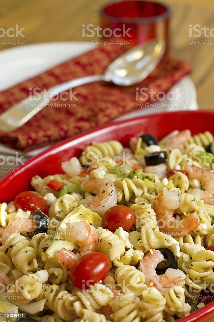 Shrimp Pasta Salad stock photo