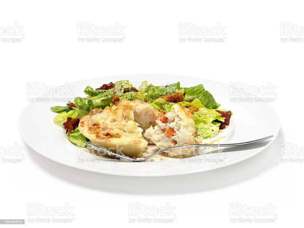 Shrimp Pie with Caeser Salad royalty-free stock photo