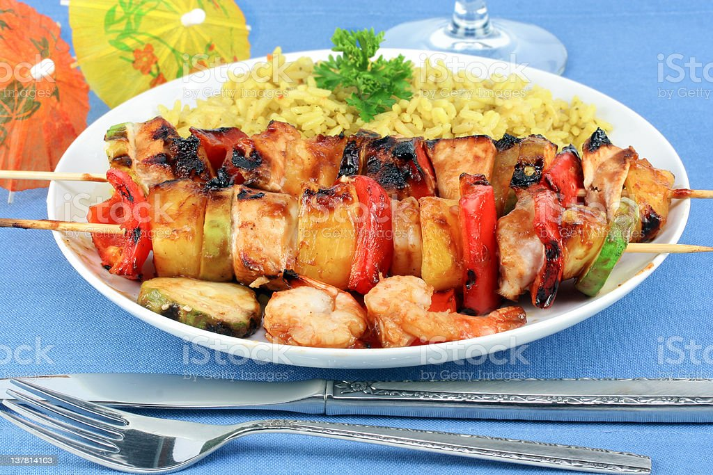 Shrimp, Pineapple and Chicken Kebabs stock photo