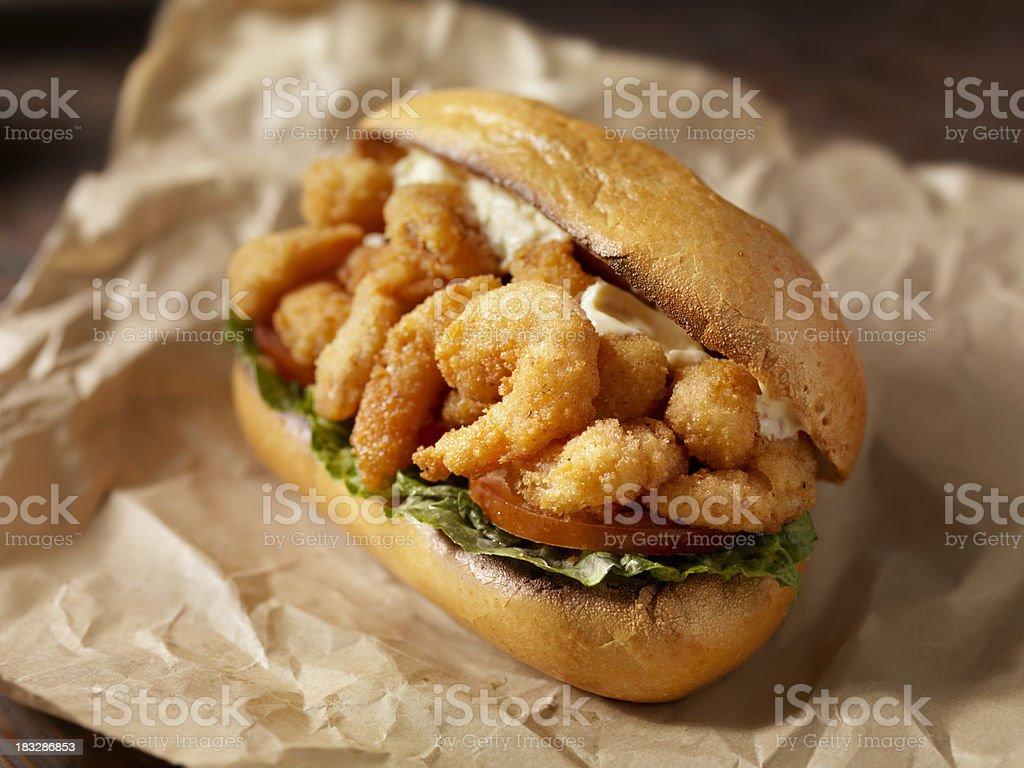 Shrimp Po Boy Sandwich stock photo