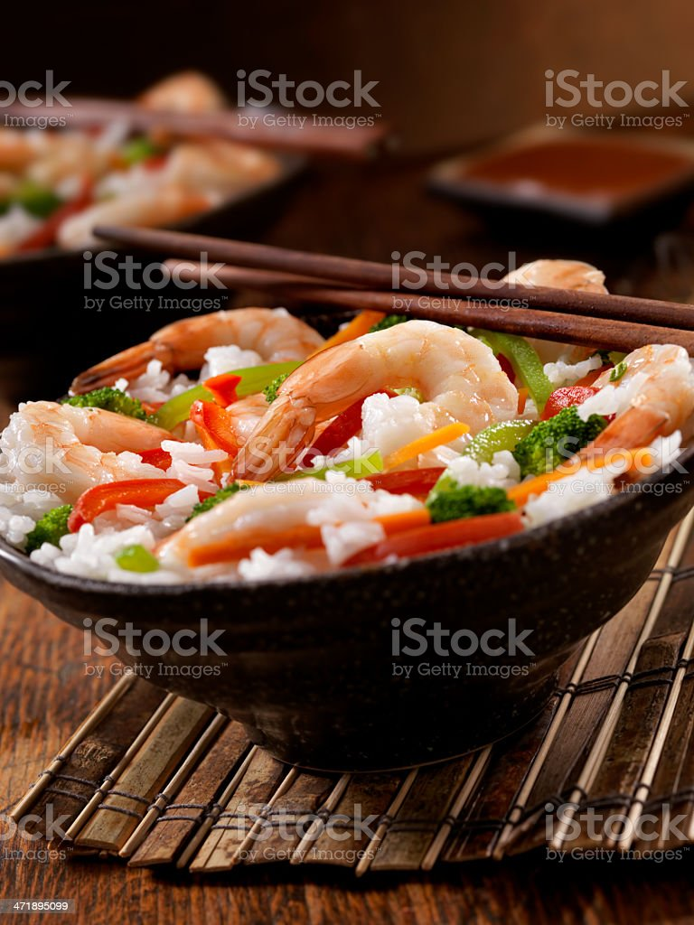 Shrimp Rice Bowl royalty-free stock photo