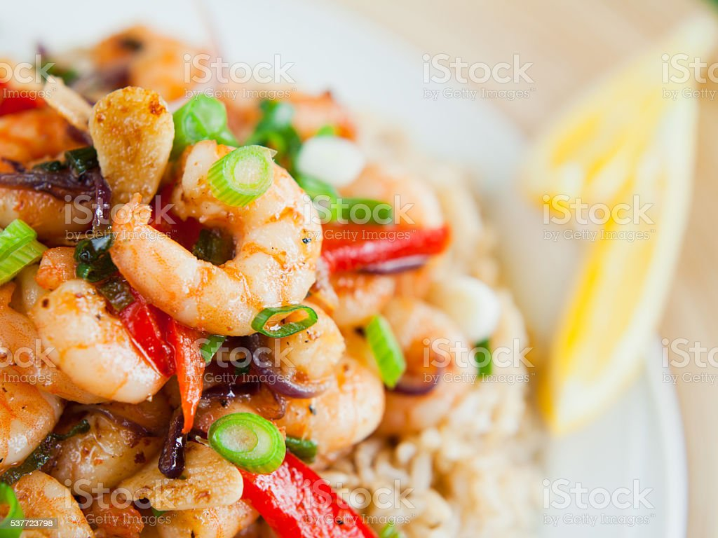Shrimp rice stock photo