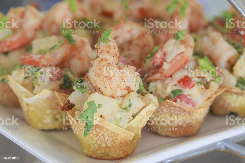 Shrimp salad in wonton cup stock photo