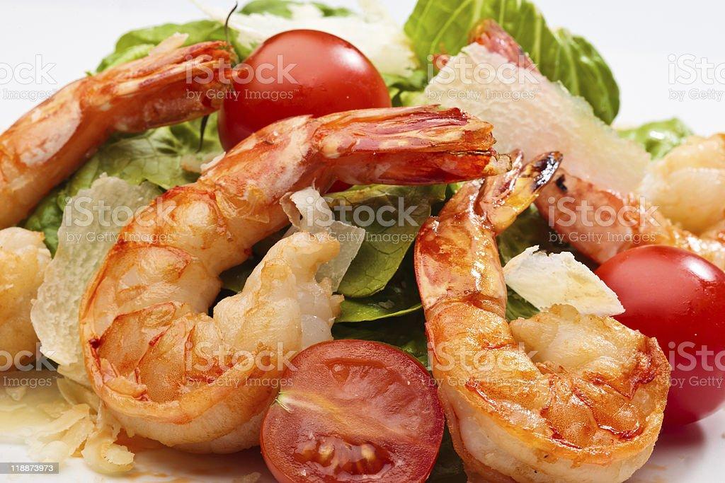 Shrimp salad isolated in studio royalty-free stock photo