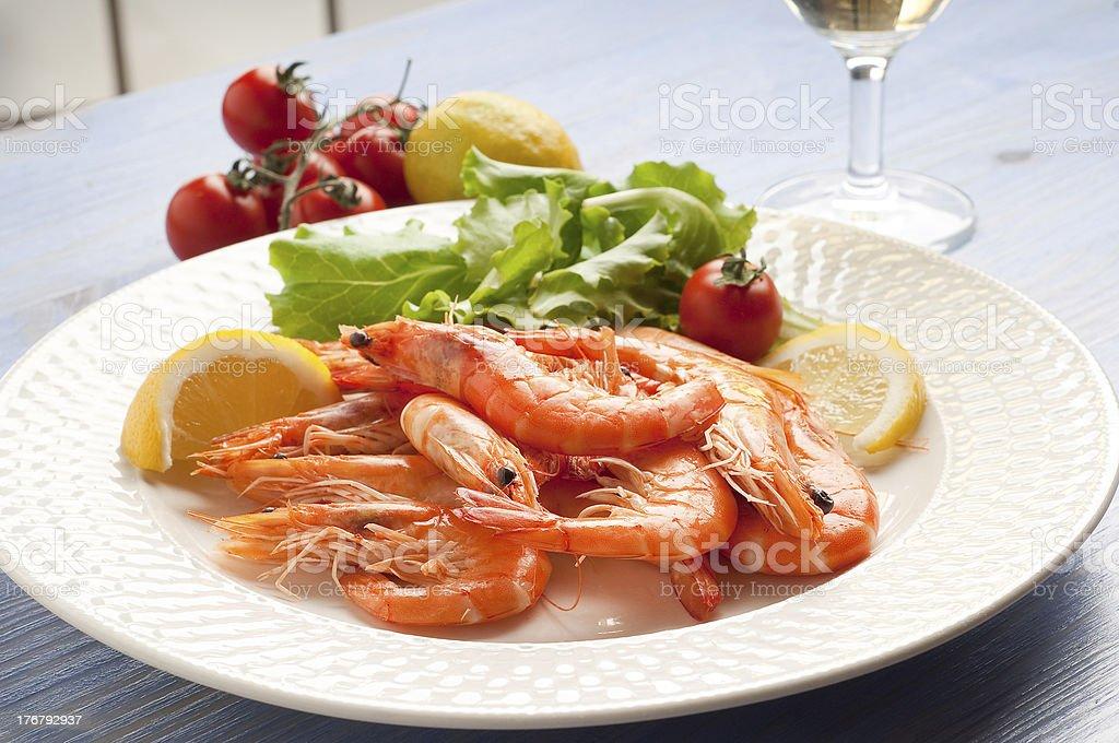 shrimp salad on dish royalty-free stock photo