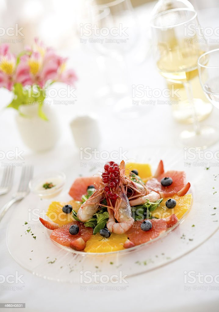 Shrimp salad whit grapefruit stock photo