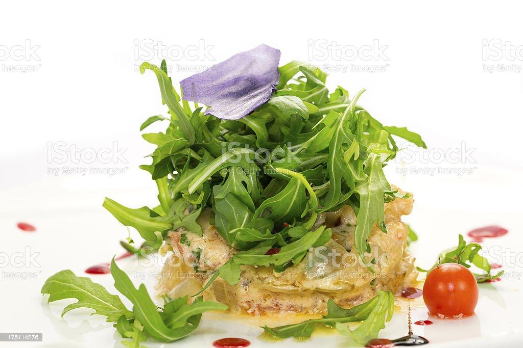 shrimp salad with arugula royalty-free stock photo